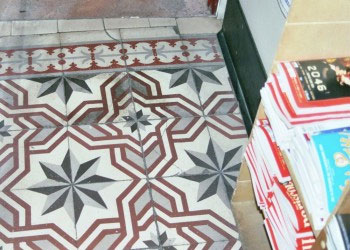 Old cement floor in stationery shop in Paris - Granada Tile Company