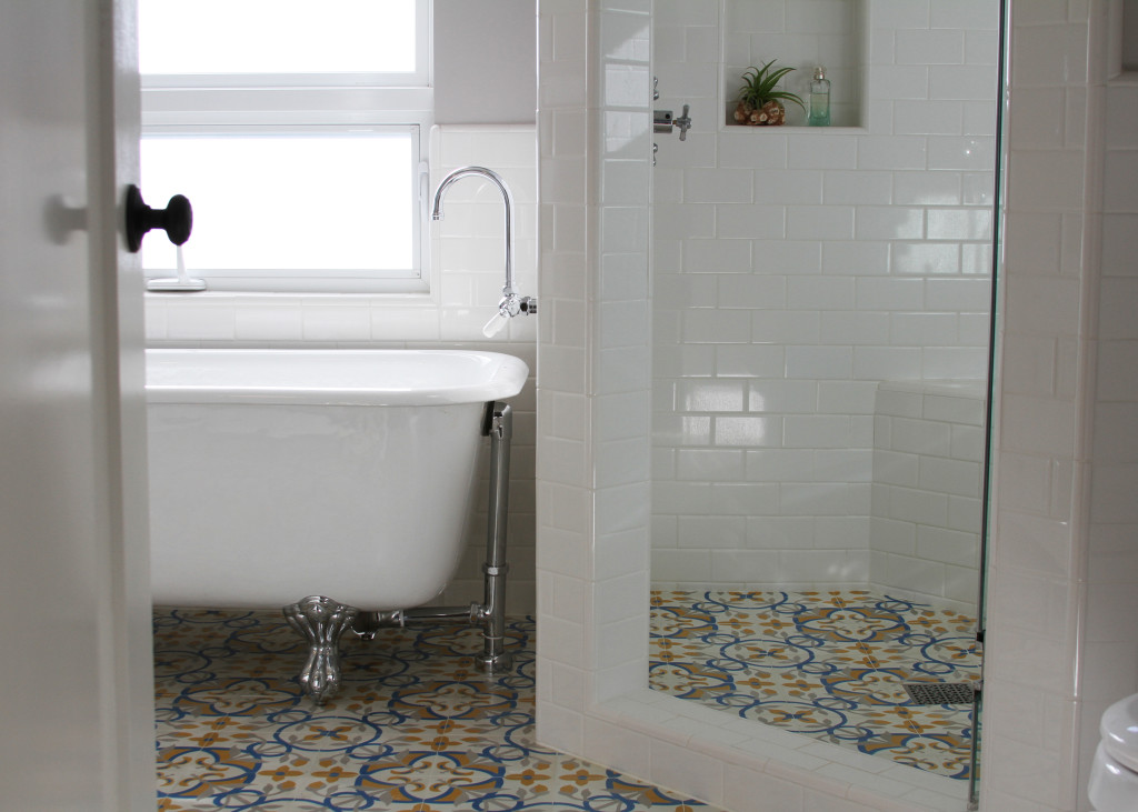 Update your white bathroom with granada cement tile for White cement tiles